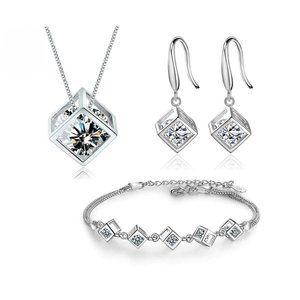 NEW[Set of 3] Sterling Silver Square Cube set